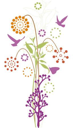 motive: floralen Hintergrund mit V�gel