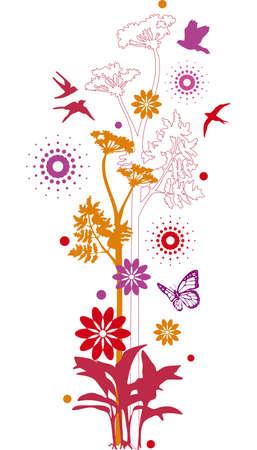 golondrina: floral con aves de fondo
