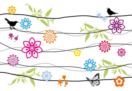 floral design with birds Vector