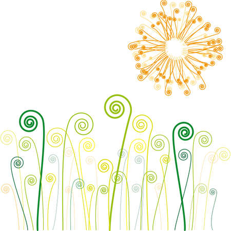 sun and grass with swirls Stock Vector - 3327676