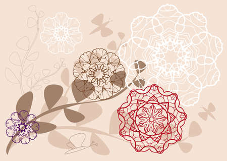 kaleidoscope: floral pattern with leaves and butterflies Illustration