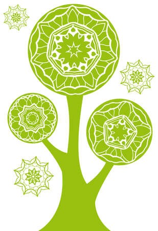 kaleidoscope: green tree silhouette with floral pattern  Illustration