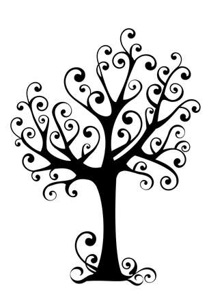 ornamental tree with swirly branches Stock Vector - 3371119