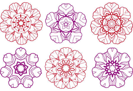 set of abstract flowers Vector