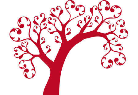 ornamental tree with heart swirls Vector