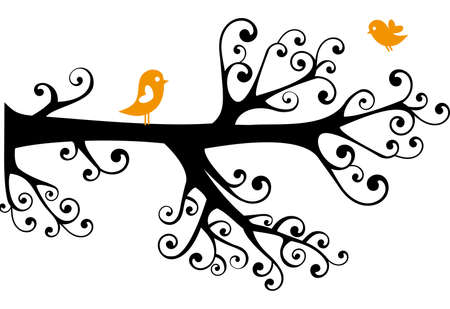 ornamental tree with birds