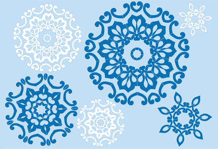 floral crystals, vector snowflakes set Illustration