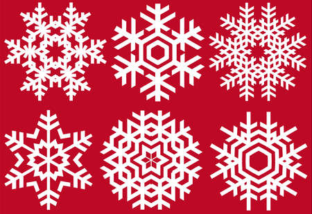 christmas crystals, vector snowflakes set