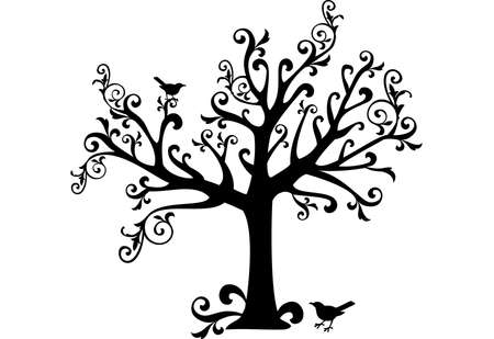 ornamental tree with swirls and birds