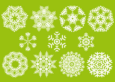 beautiful crystals, vector snowflakes collection Vector