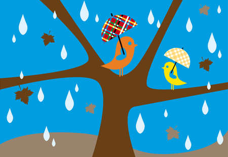 autumn rain, lovebirds sitting on tree with umbrella Vector