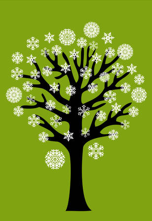 winter tree with snowflakes  Vector