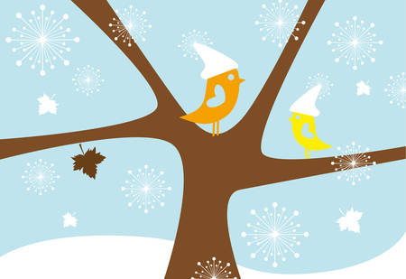 lovebirds: lovebirds in snowfall, birds sitting on tree in winter