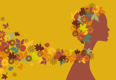 neck scarf: beautiful autumn girl with leaves and flowers Illustration