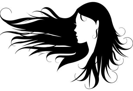 hairdos: woman with curly black hair Illustration