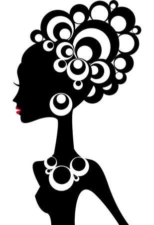 colliers: silhouette de femme avec les cheveux noirs