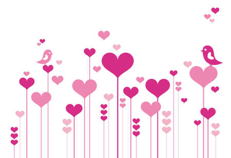 Heart flowers with lovebirds, vector background Vector
