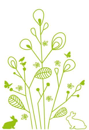 Zusammenfassung floralen Design mit Kaninchen, Vektor