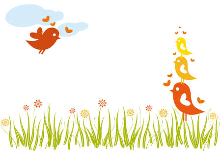 lovebird family in a flowery green field, vector Stock Vector - 4254514