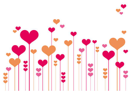symbol vector: abstract heart flowers, vector background