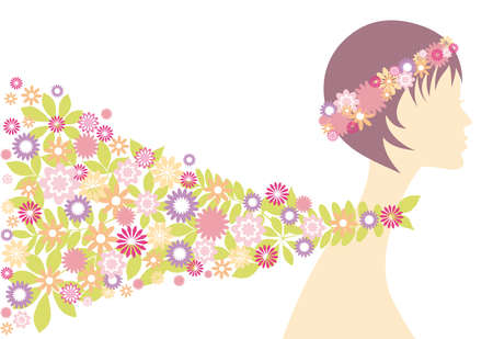 purple wreath: spring girl with flowers