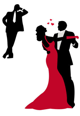 danse en couple: couple �l�gant, danse, vecteur  Illustration