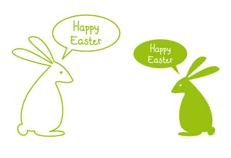 easter card with green bunnies, vector