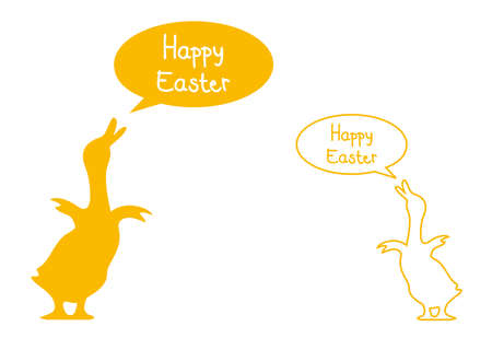 goose: easter card with yellow ducks, vector  Illustration