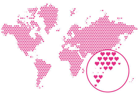 love the world, map with hearts, vector Vector