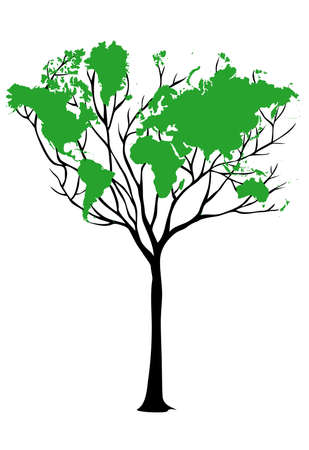 earth logo: green earth, world map tree, vector