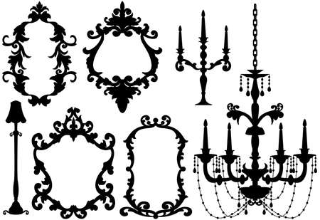 antique picture frames and chandelier silhouette, vector  Vector