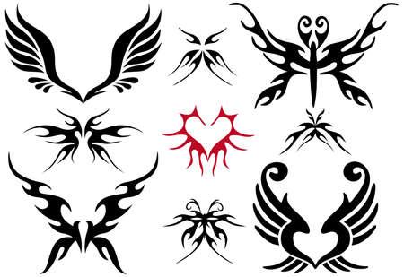 tatouage ange: tatouage design set, vecteur