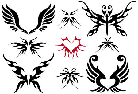 burning heart: tattoo design set, vector  Illustration