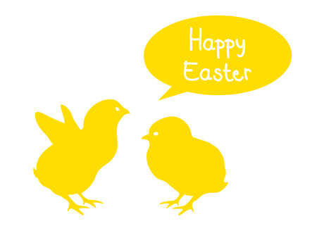 happy easter with yellow chicken, vector  Vector