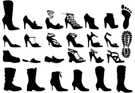 walking shoes: shoe silhouettes set, vector