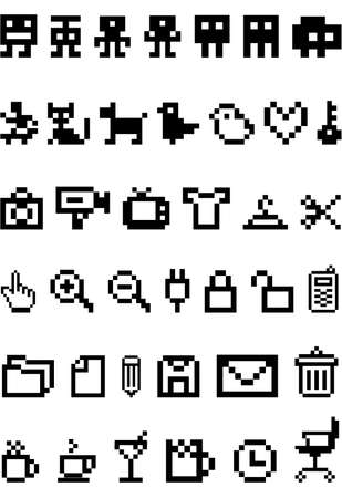 paper hanger: pixel icon set, vector
