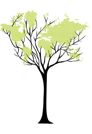 world map tree with dots, vector Vector
