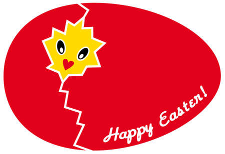 happy easter with broken red egg and chicken Vector
