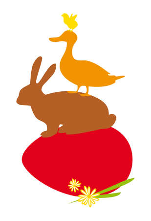 happy easter with red egg and animal silhouettes Vector