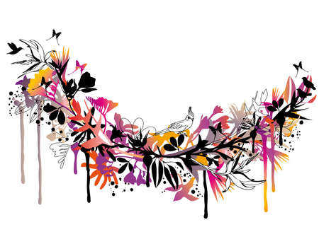 exotic floral background with birds and butterflies Vector