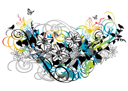 abstract floral background with birds and butterflies Stock Vector - 4713368