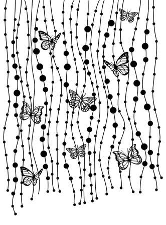 dingbat: abstract background with butterflies, vector