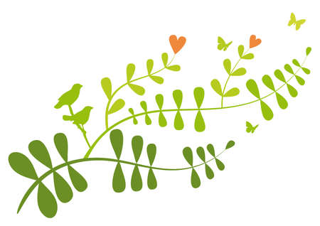 leaves vector: Floral branch with heart flowers and birds, vector