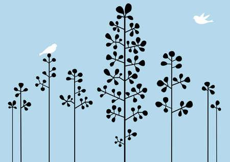 vectors abstract: Resumen de fondo floral con aves, vector Vectores