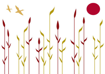 reeds: Reeds, floral background with birds, vector