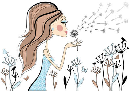 Fashion girl with dandelion flower, vector Vector