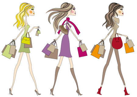 Fashion girls with shopping bags, vector Vector