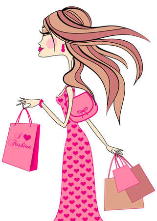 fashion girl with shopping bags, vector Vector