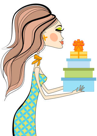 Fashion girl holding gift boxes, vector Vector