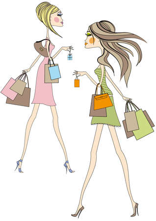 Fashion girls walking with shopping bags, vector Vector